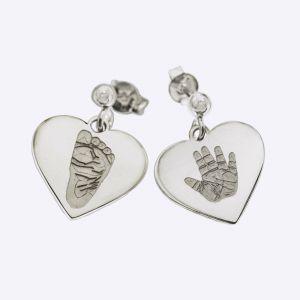 Orecchini cuore con impronte
